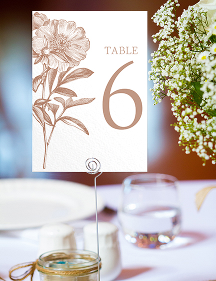 Nude Classic Table Number - vintage beige neutral floral wedding stationery suite uk - Hawthorne and Ivory