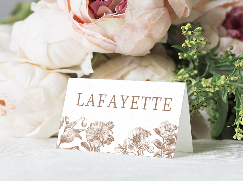 Nude Classic Placecard - vintage beige neutral floral wedding stationery suite uk - Hawthorne and Ivory