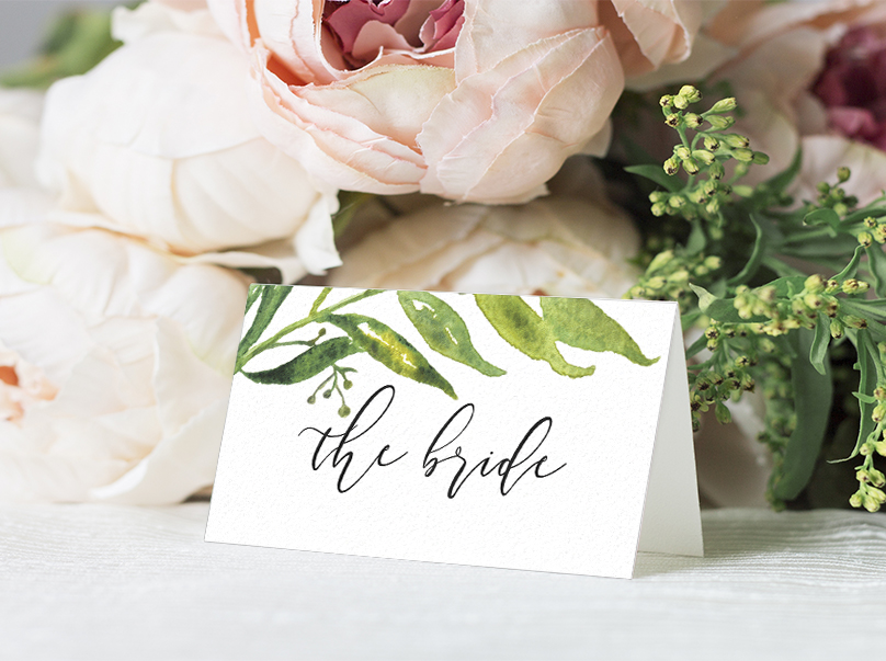 Olive Branch Placecard - greenery watercolour leaf greek wedding wedding stationery suite uk - Hawthorne and Ivory