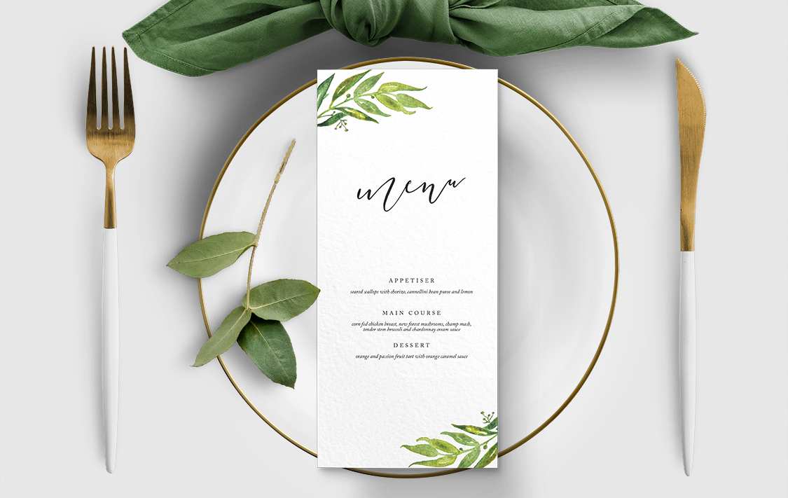 Olive Branch Menu - greenery watercolour leaf greek wedding wedding stationery suite uk - Hawthorne and Ivory