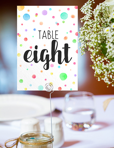Rainbow Drops Table Number - colourful watercolour painted polka dot wedding wedding stationery suite uk - Hawthorne and Ivory