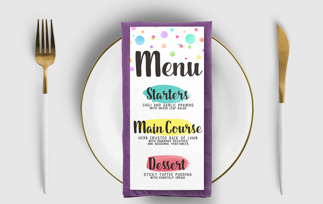 Rainbow Drops Menu Card - colourful watercolour painted polka dot wedding wedding stationery suite uk - Hawthorne and Ivory