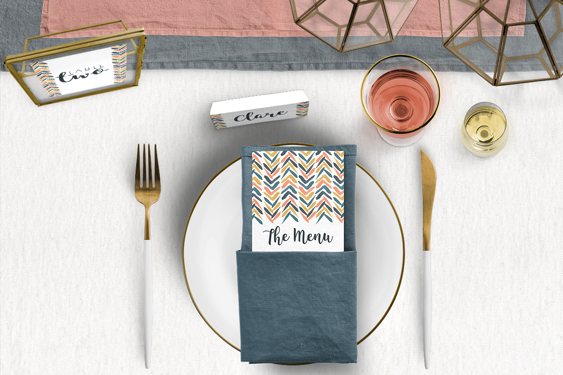 Retro Chic Tablescape - painted chevron modern mustard slate blue coral peach wedding wedding stationery place setting menu card table number uk - Hawthorne and Ivory
