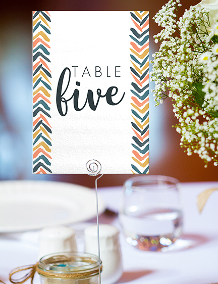 Retro Chic Table Number - painted chevron modern mustard slate blue coral peach wedding wedding stationery suite uk - Hawthorne and Ivory