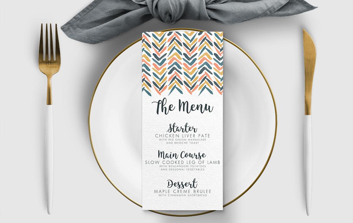 Retro Chic Menu Card - painted chevron modern mustard slate blue coral peach wedding wedding stationery suite uk - Hawthorne and Ivory