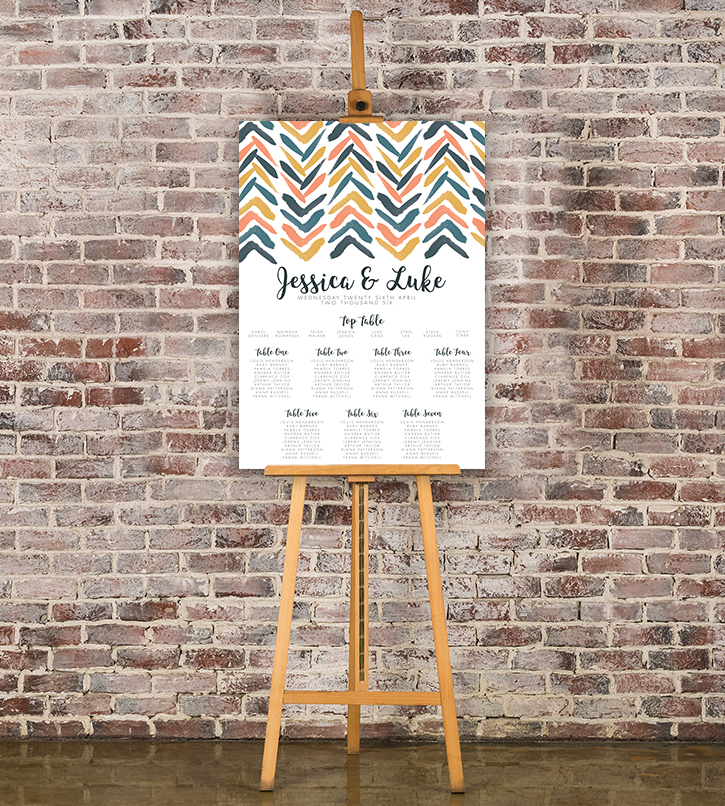 Retro Chic Table Plan - painted chevron modern mustard slate blue coral peach wedding wedding stationery seating chart uk - Hawthorne and Ivory