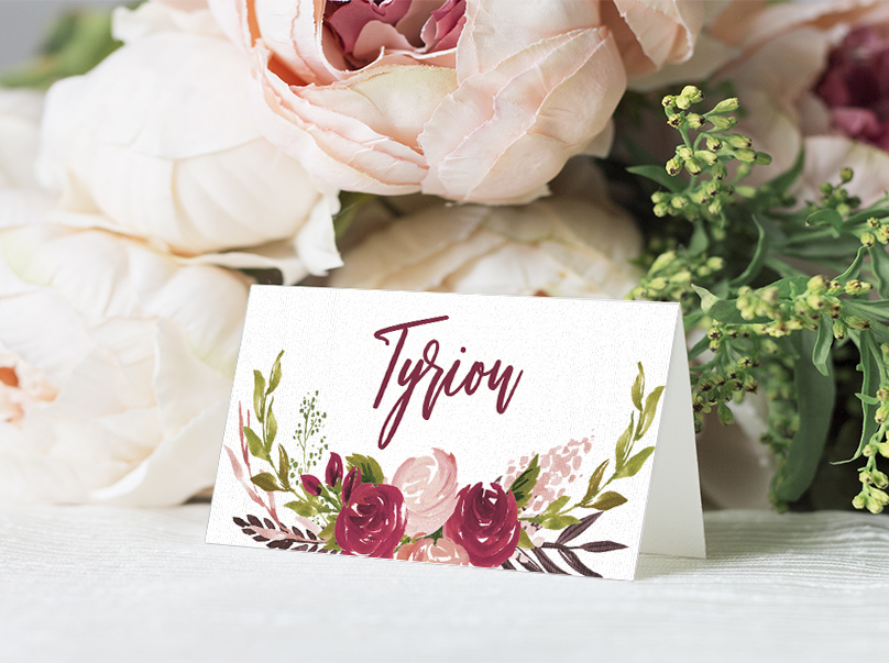 Rustic Rose Placecard - red pink roses watercolour wedding wedding stationery suite uk - Hawthorne and Ivory