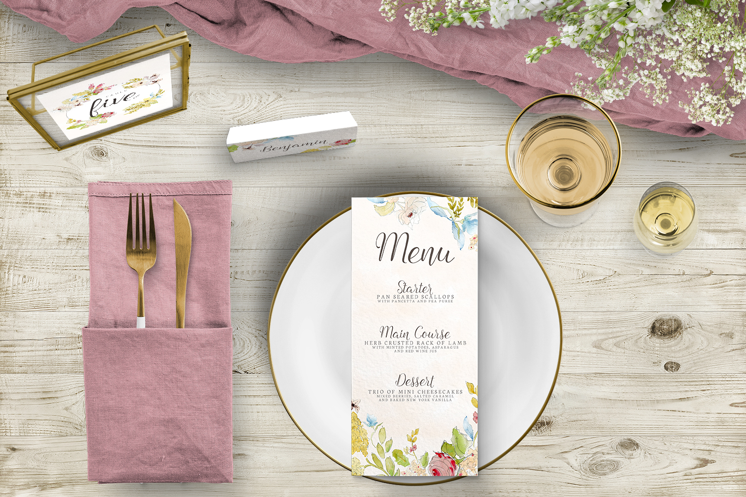 Shabby Chic Floral Tablescape - watercolour flowers rose wedding wedding stationery place setting table number menu card uk - Hawthorne and Ivory