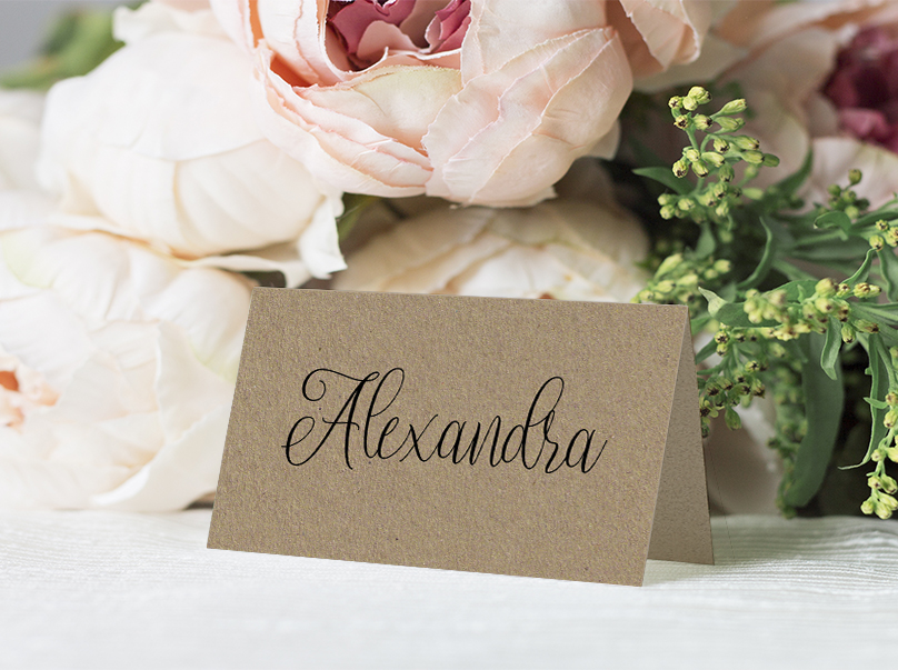 Simple Kraft Placecard - rustic simple botanical floral wedding wedding stationery suite uk - Hawthorne and Ivory