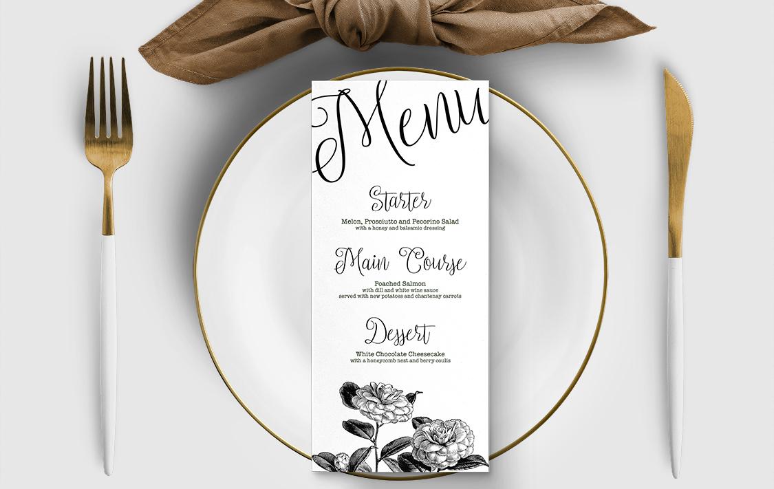 Simple Kraft Menu Card - rustic simple botanical floral wedding wedding stationery suite uk - Hawthorne and Ivory
