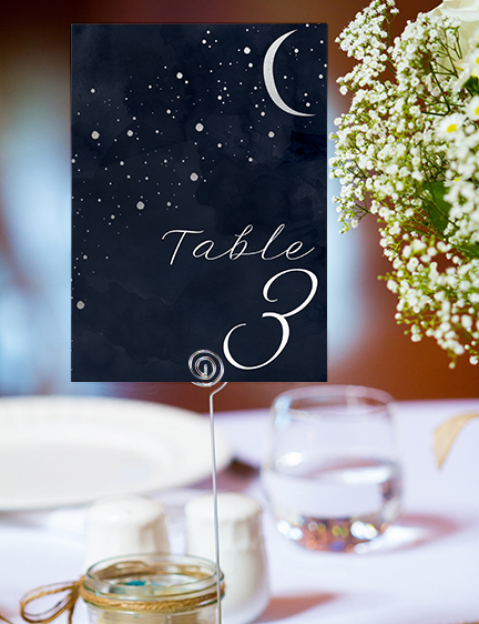 Starry Night Table Number - watercolour celestial stars constellation moon navy wedding wedding stationery suite uk - Hawthorne and Ivory