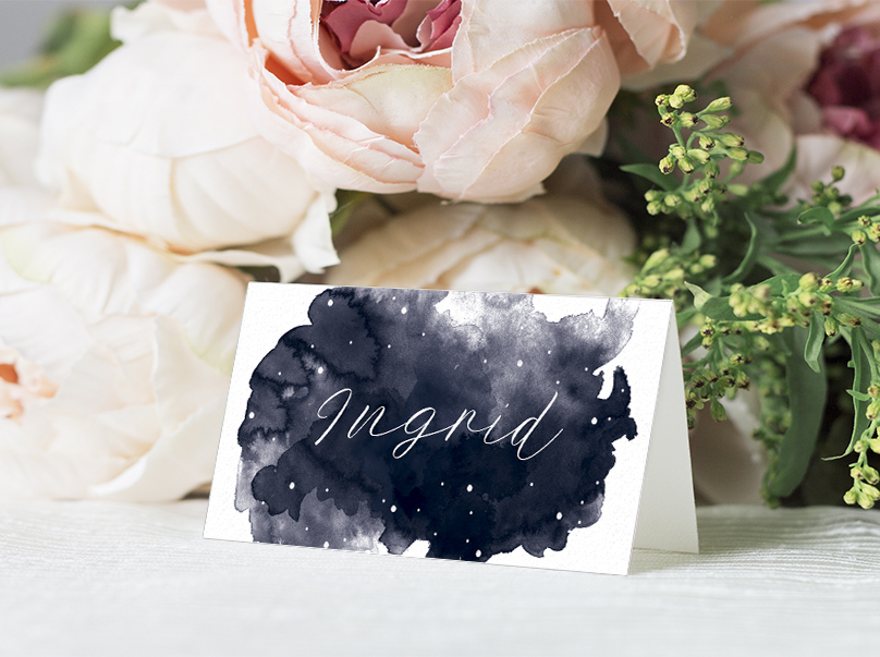 Starry Night Placecard - watercolour celestial stars constellation moon navy wedding wedding stationery suite uk - Hawthorne and Ivory