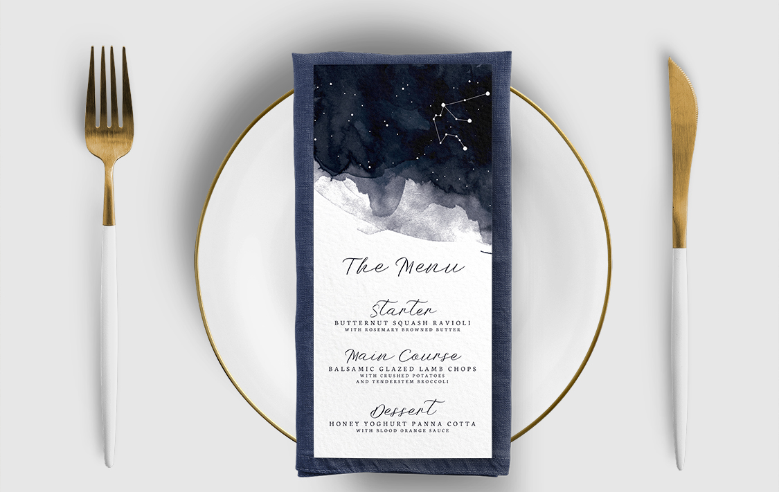 Starry Night Menu Card - watercolour celestial stars constellation moon navy wedding wedding stationery suite uk - Hawthorne and Ivory