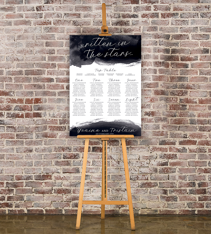 Starry Night Table Plan - watercolour celestial stars constellation moon navy wedding wedding stationery seating chart uk - Hawthorne and Ivory