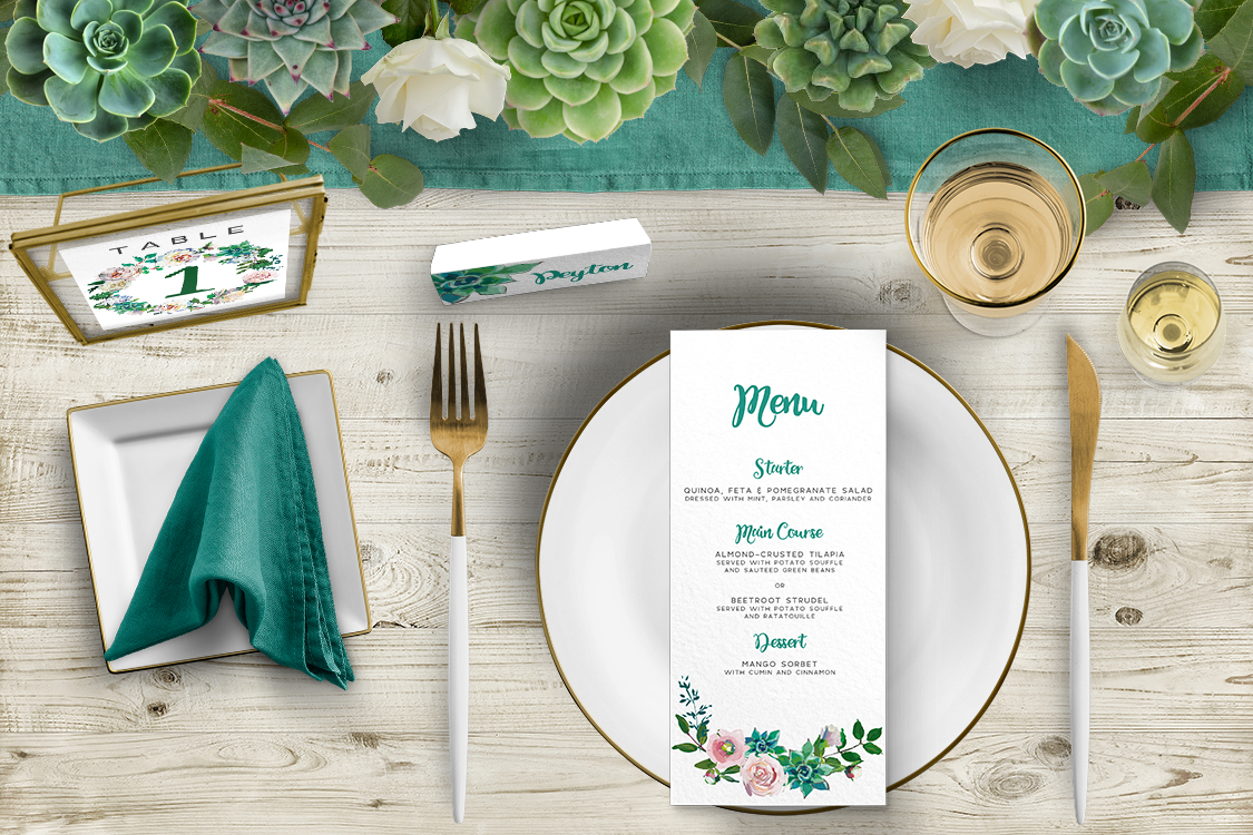 Succulent Rose Tablescape - teal turquoise hydrangea eucalyptus floral wedding stationery place setting menu card table number uk - Hawthorne and Ivory