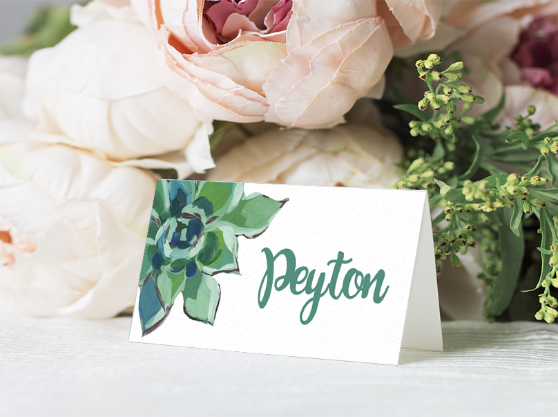 Succulent Rose Placecard - teal turquoise hydrangea eucalyptus floral wedding stationery suite uk - Hawthorne and Ivory