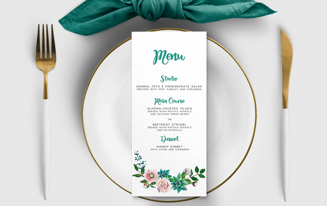 Succulent Rose Menu Card - teal turquoise hydrangea eucalyptus floral wedding stationery suite uk - Hawthorne and Ivory