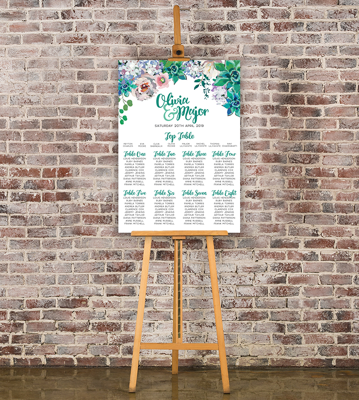 Succulent Rose Table Number - teal turquoise hydrangea eucalyptus floral wedding stationery seating chart uk - Hawthorne and Ivory