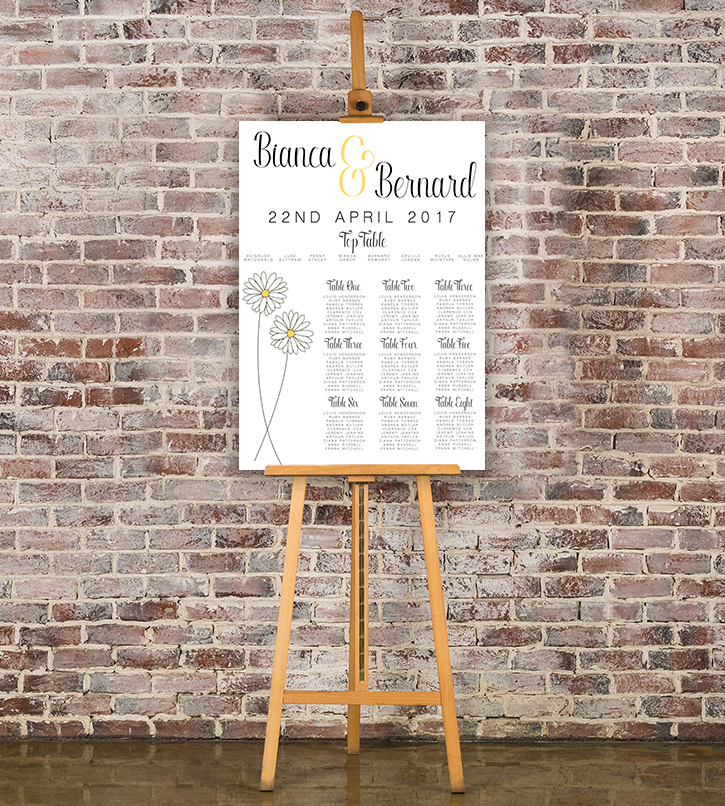Yellow Daisy Table Plan - lemon floral simple modern wedding stationery seating chart uk - Hawthorne and Ivory