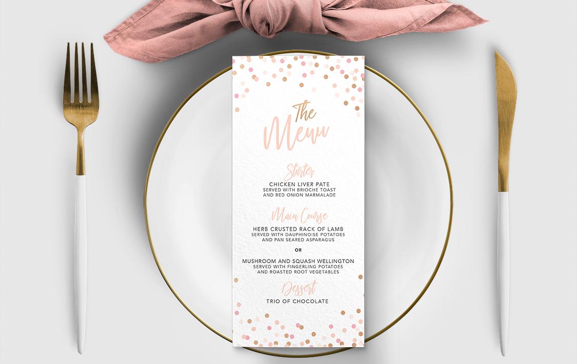 Blush Confetti Menu - blush pink and rose gold whimsical wedding stationery suite uk - Hawthorne and Ivory
