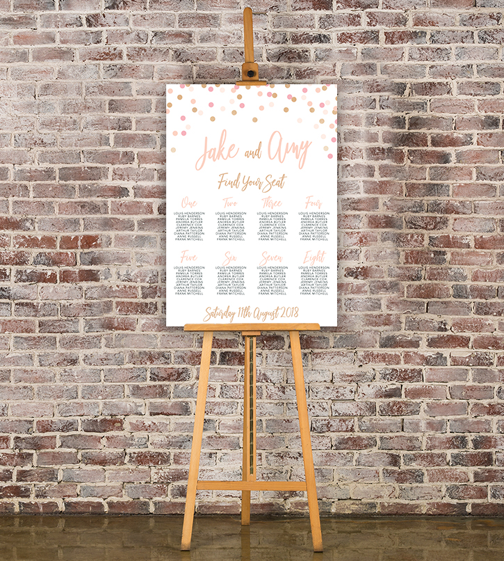 Blush Confetti Table Plan - blush pink and rose gold whimsical wedding stationery seating chart uk - Hawthorne and Ivory