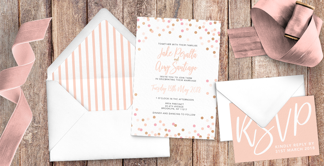 Blush Confetti Wedding Invitation Suite
