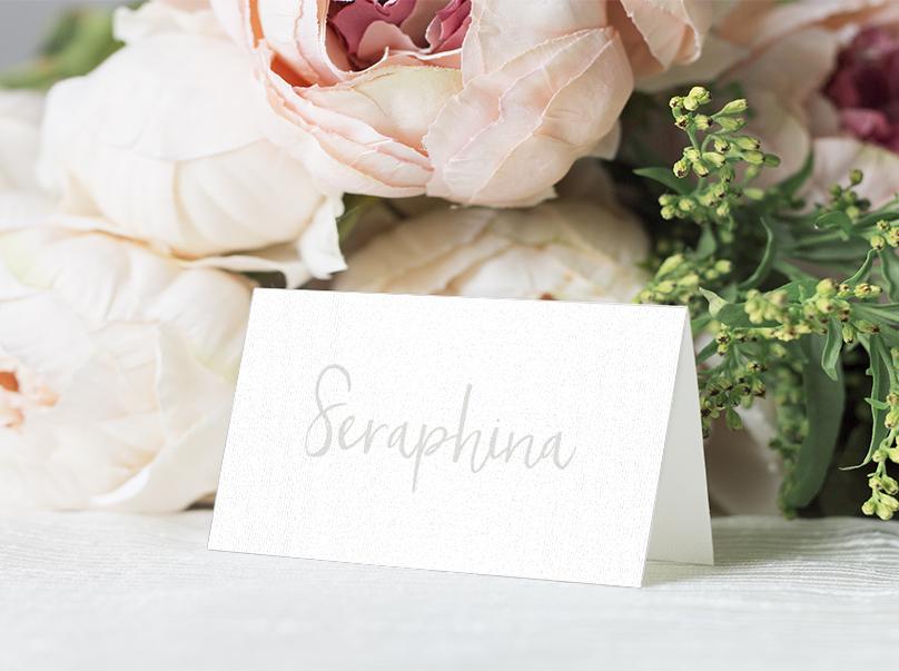 Subtle Powder White Placecard - minimal simple pale grey wedding wedding stationery suite uk - Hawthorne and Ivory