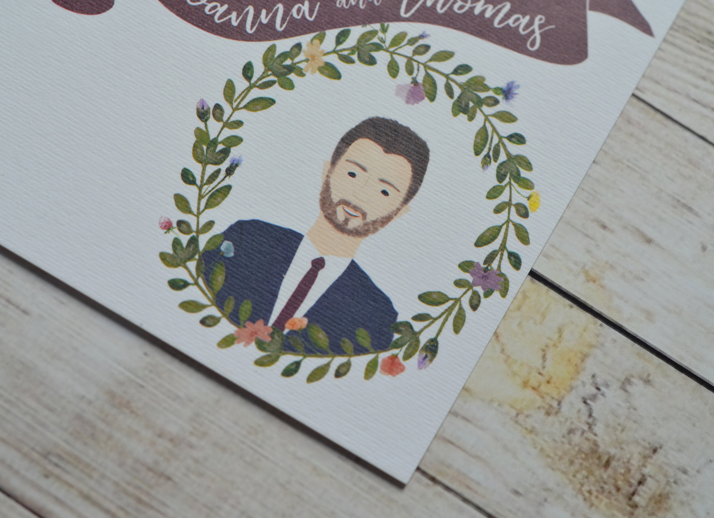 bespoke wedding stationery illustrated portrait