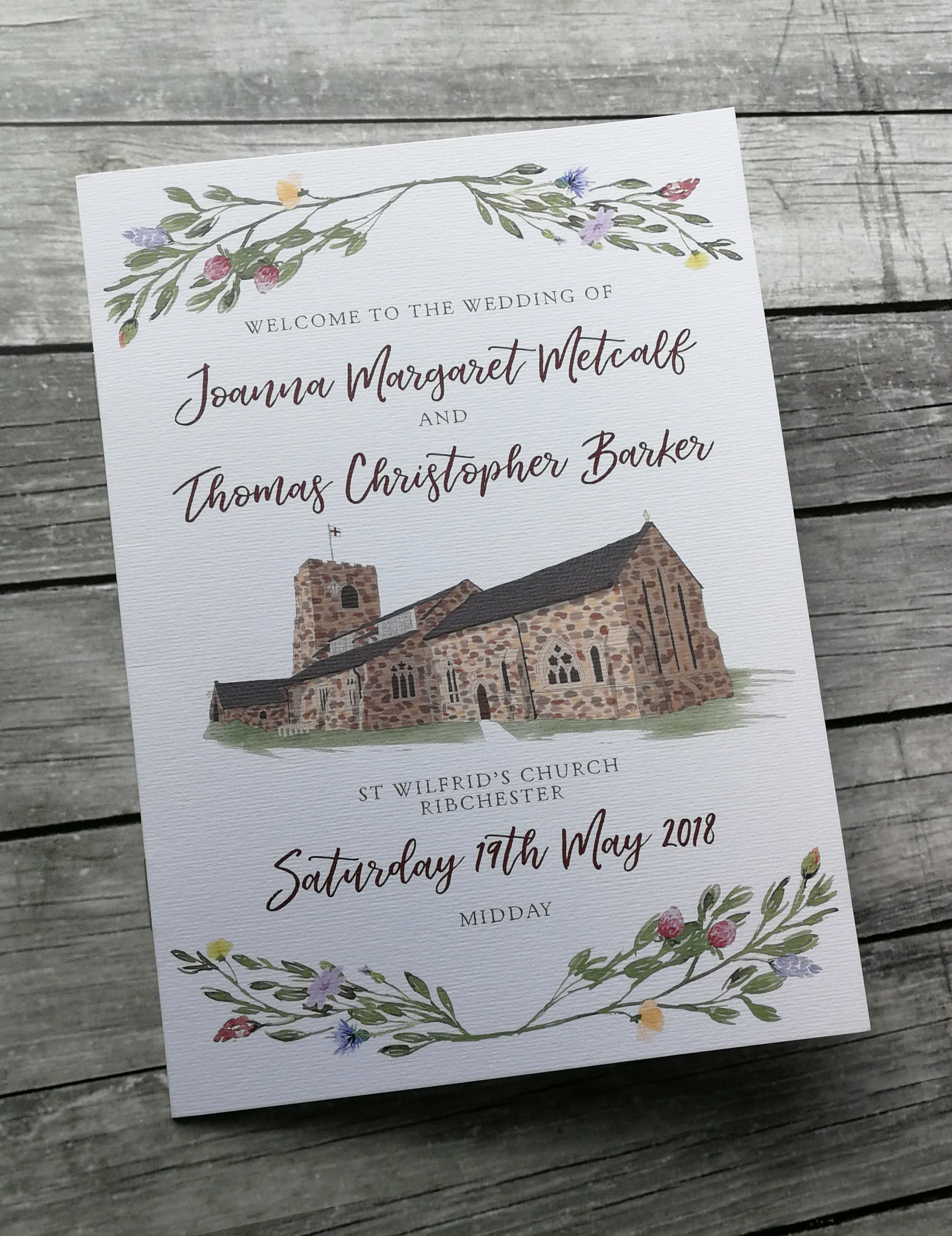 bespoke wedding stationery design church illustration order of service