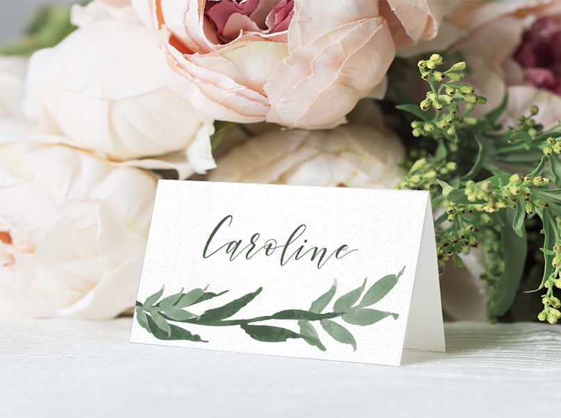 Elegant Sage Placecard - sage green watercolour floral wedding stationery suite uk - Hawthorne and Ivory
