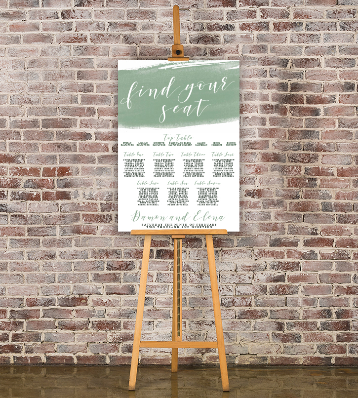 Elegant Sage Table Plan - sage green watercolour floral wedding stationery seating chart uk - Hawthorne and Ivory