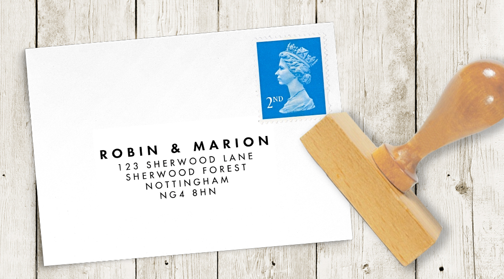 Aqua and Coral Geometry Return Address Stamp - bold geometric wedding stationery suite UK - Hawthorne and Ivory