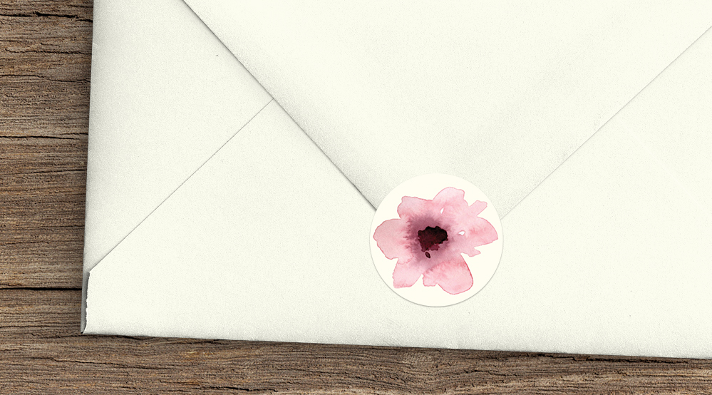 Autumn Flowers Envelope Seal Sticker - watercolour flowers wedding stationery suite UK - Hawthorne and Ivory