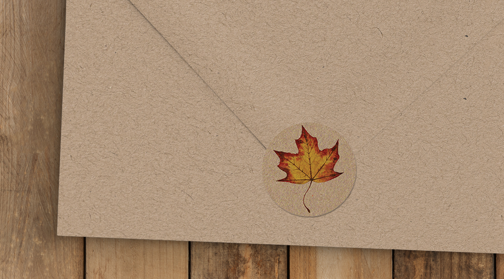 Autumn Leaves Envelope Seal Sticker - watercolour painted leaves wedding stationery suite uk - Hawthorne and Ivory