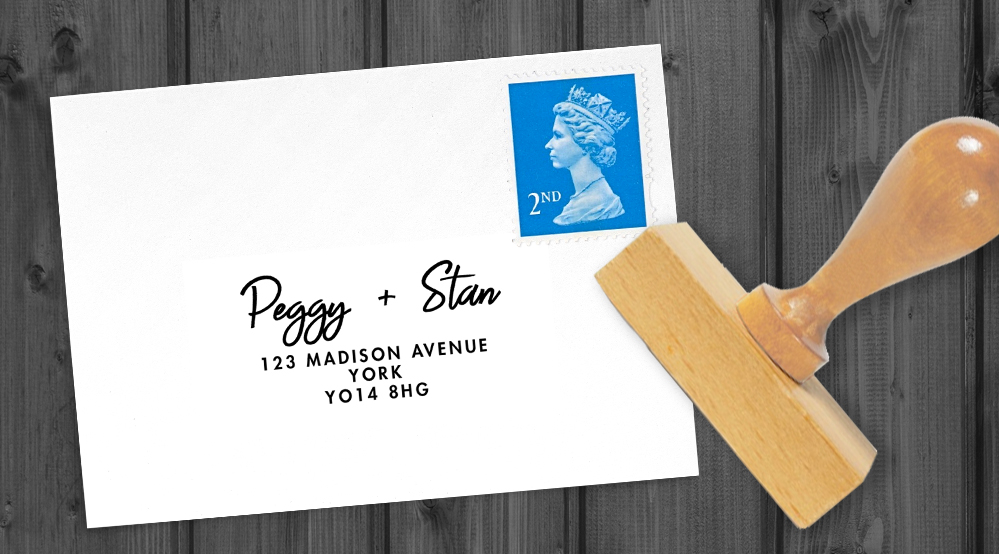 Black and Blush Return Address Stamp - bold modern graphic wedding stationery suite uk - Hawthorne and Ivory
