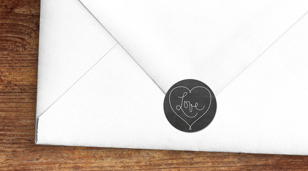 Chalkboard Envelope Sealing Stickers - rustic chalk slate grey wedding stationery suite uk - Hawthorne and Ivory