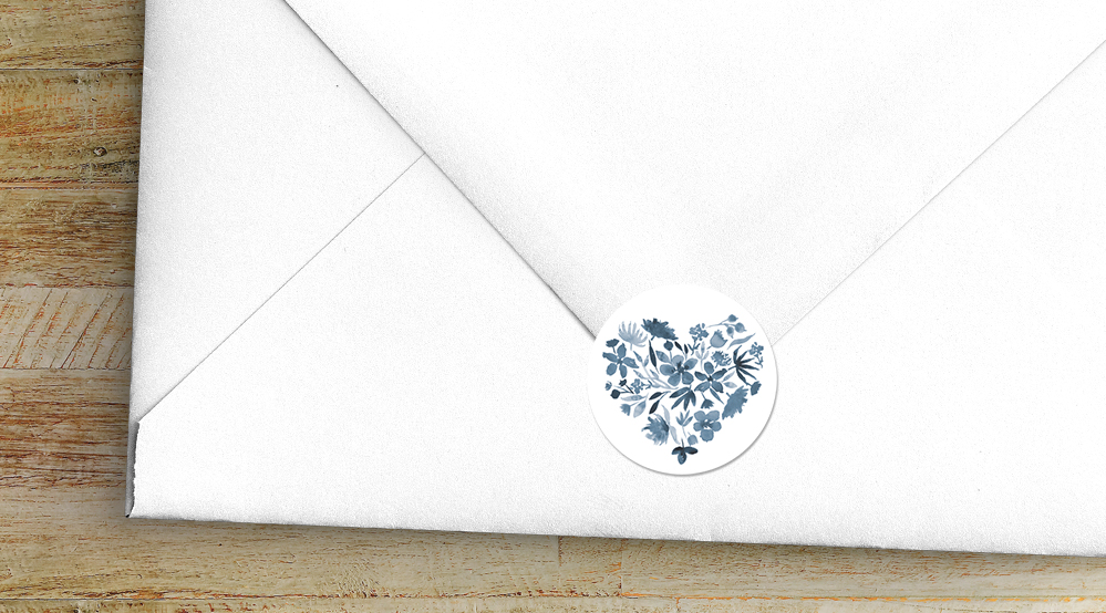 Dusky Blue Envelope Seal Sticker - blue watercolour floral wedding stationery suite uk - Hawthorne and Ivory