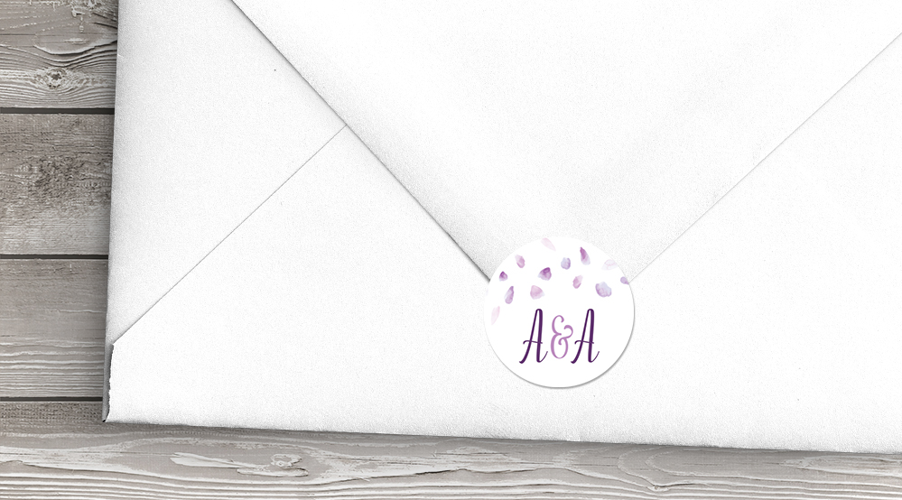 Lavender Petals Envelope Seal Sticker - lilac pastel purple wedding stationery suite uk - Hawthorne and Ivory