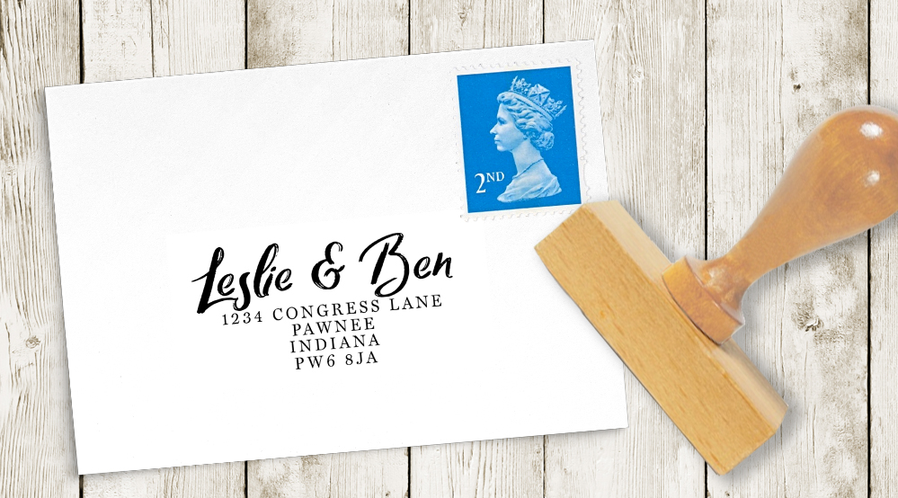 Navy and Gold Return Address Stamp - nautical stripe blue gold watercolour wedding stationery suite uk - Hawthorne and Ivory