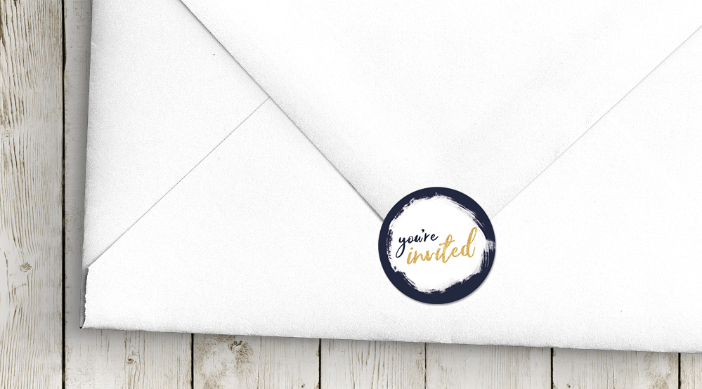 Navy and Gold Envelope Seal Sticker - nautical stripe blue gold watercolour wedding stationery suite uk - Hawthorne and Ivory