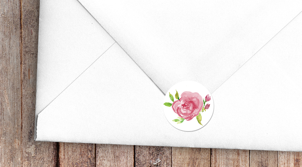 Pink Rose Envelope Seal Sticker - watercolour floral wedding wedding stationery suite uk - Hawthorne and Ivory