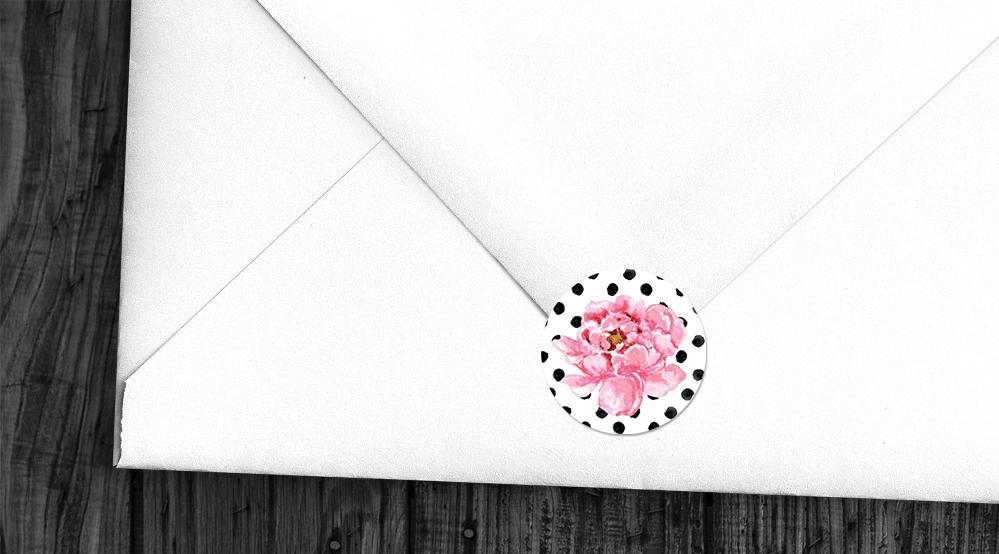 Polka Dot Peony Envelope Sealing Sticker - watercolour pink floral wedding wedding stationery suite uk - Hawthorne and Ivory