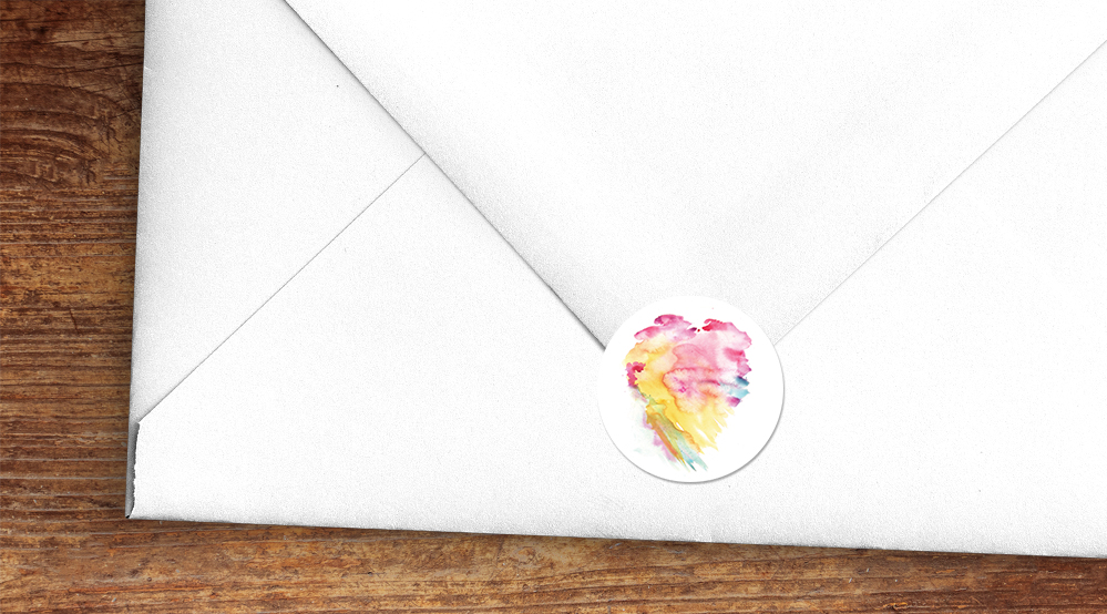 Rainbow Drops Envelope Seal Sticker - colourful watercolour painted polka dot wedding wedding stationery suite uk - Hawthorne and Ivory