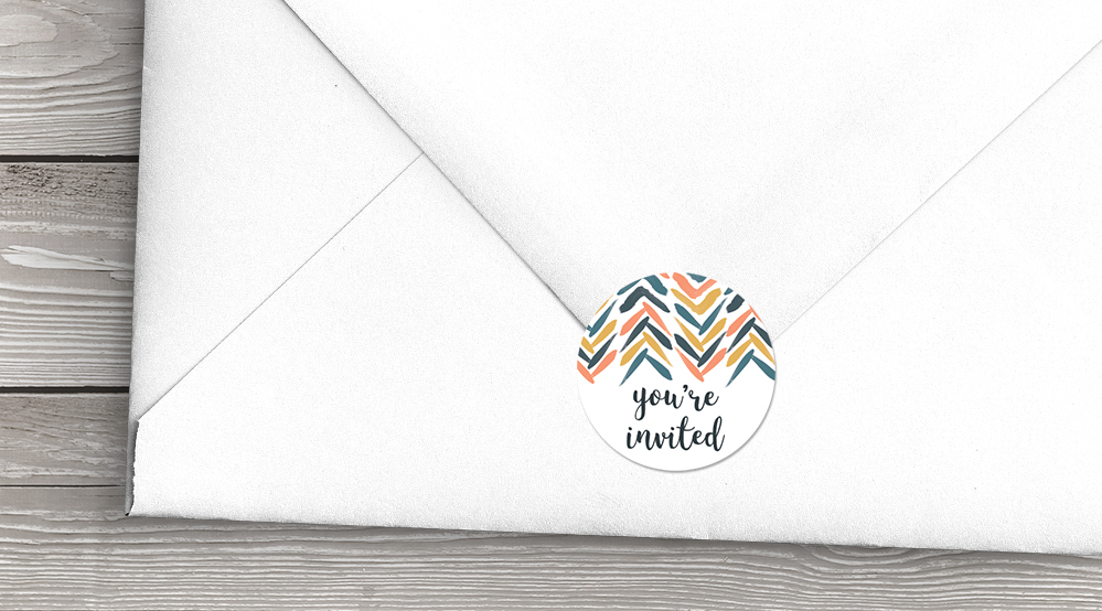 Retro Chic Envelope Seal Sticker - painted chevron modern mustard slate blue coral peach wedding wedding stationery suite uk - Hawthorne and Ivory