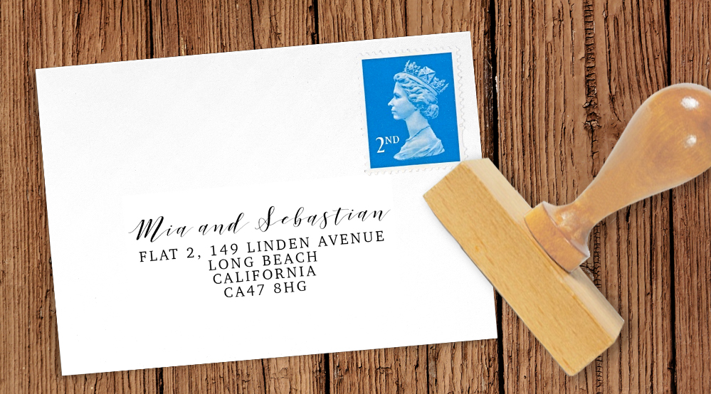 Valentines Hearts Return Address Stamp - watercolour red pink heart wedding stationery suite uk - Hawthorne and Ivory