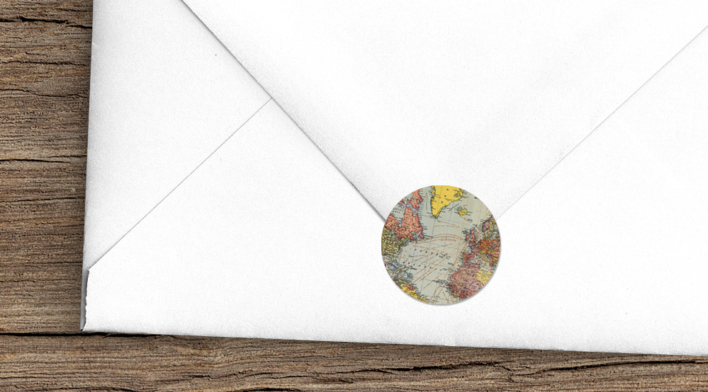 Vintage Maps Envelope Seal Sticker - travel destination wedding stationery suite uk - Hawthorne and Ivory