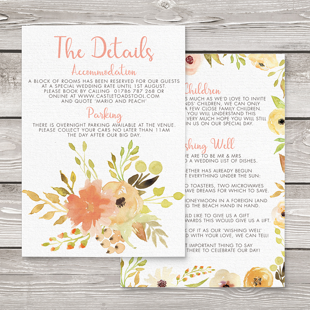 Spring Flowers Details Card - watercolour painted floral peach coral peony wedding wedding stationery suite uk - Hawthorne and Ivory