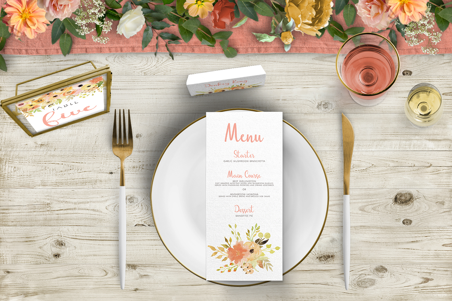 Spring Flowers Tablescape - watercolour painted floral peach coral peony wedding wedding stationery place setting menu card table number uk - Hawthorne and Ivory