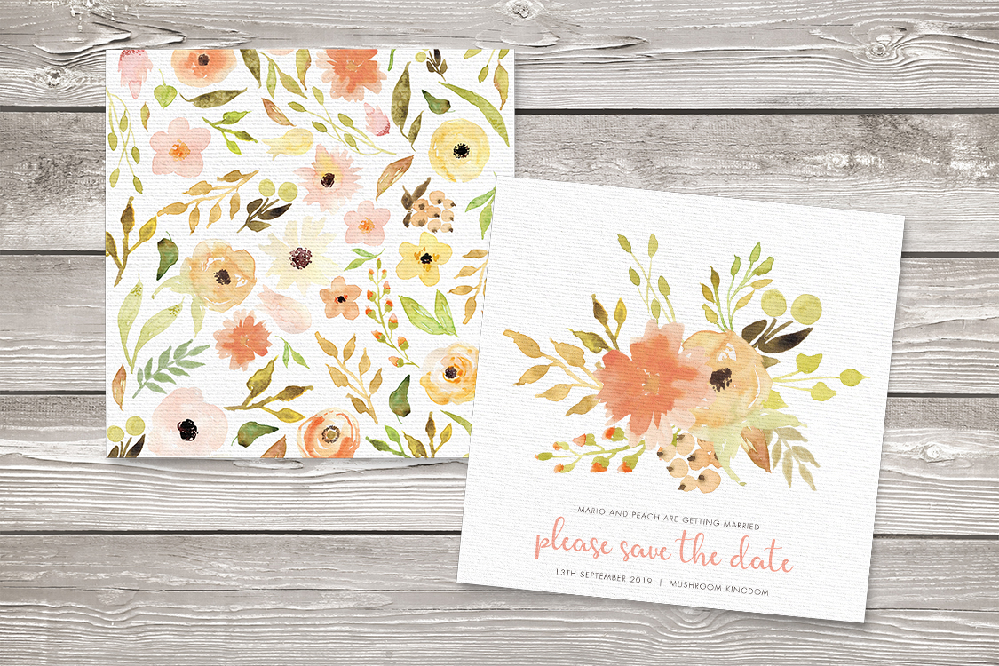 Spring Flowers Save The Dates - watercolour painted floral peach coral peony wedding wedding stationery suite uk - Hawthorne and Ivory