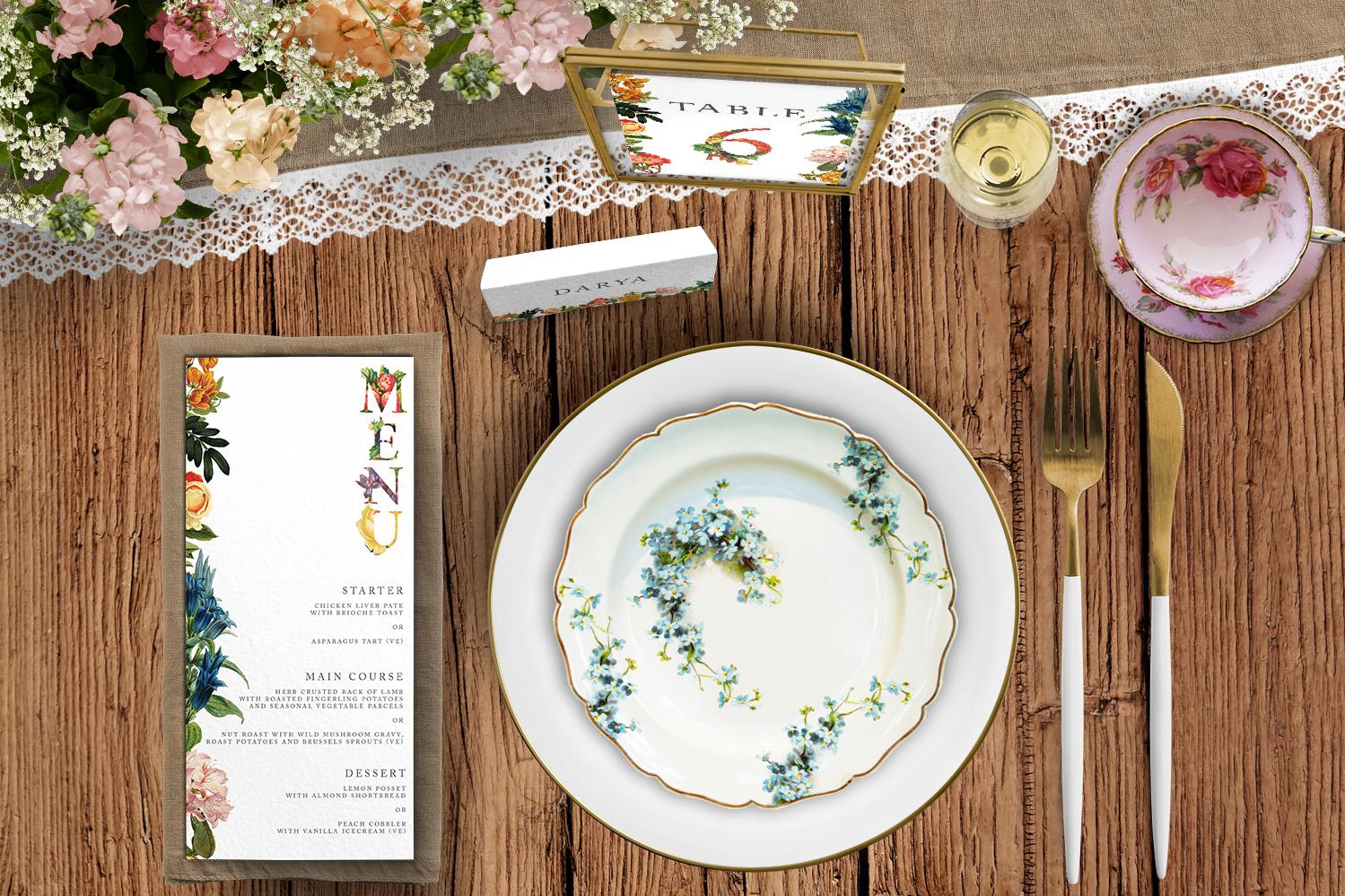 Floribunda Tablescape - vintage floral wedding stationery place card menu table number uk - Hawthorne and Ivory